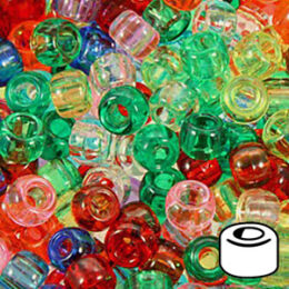 500 Emerald Green Transparent 9x6mm Barrel Pony Beads Made in the USA