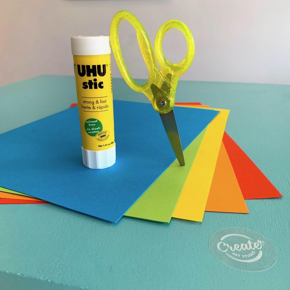 Create Art Studio Art Tool Kit Scissors and Glue Stick plain background