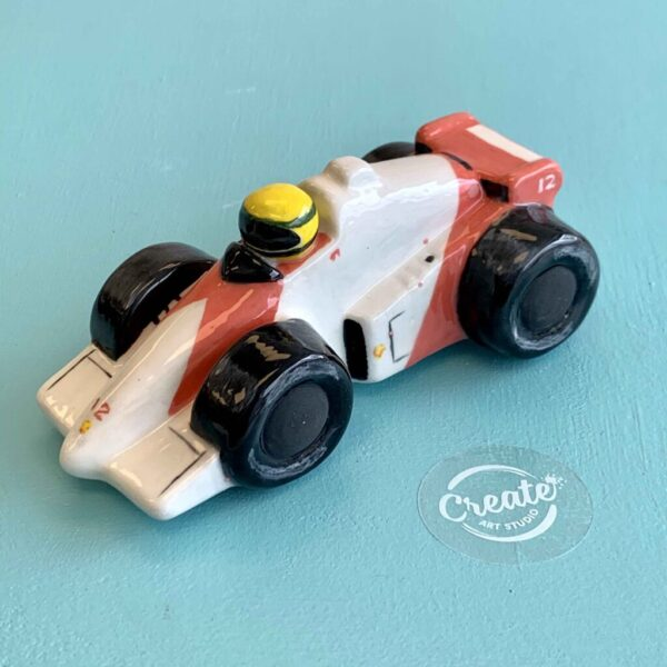 F1 Maclaren ceramic race car DIY pottery painting at home kit from Create Art Studio