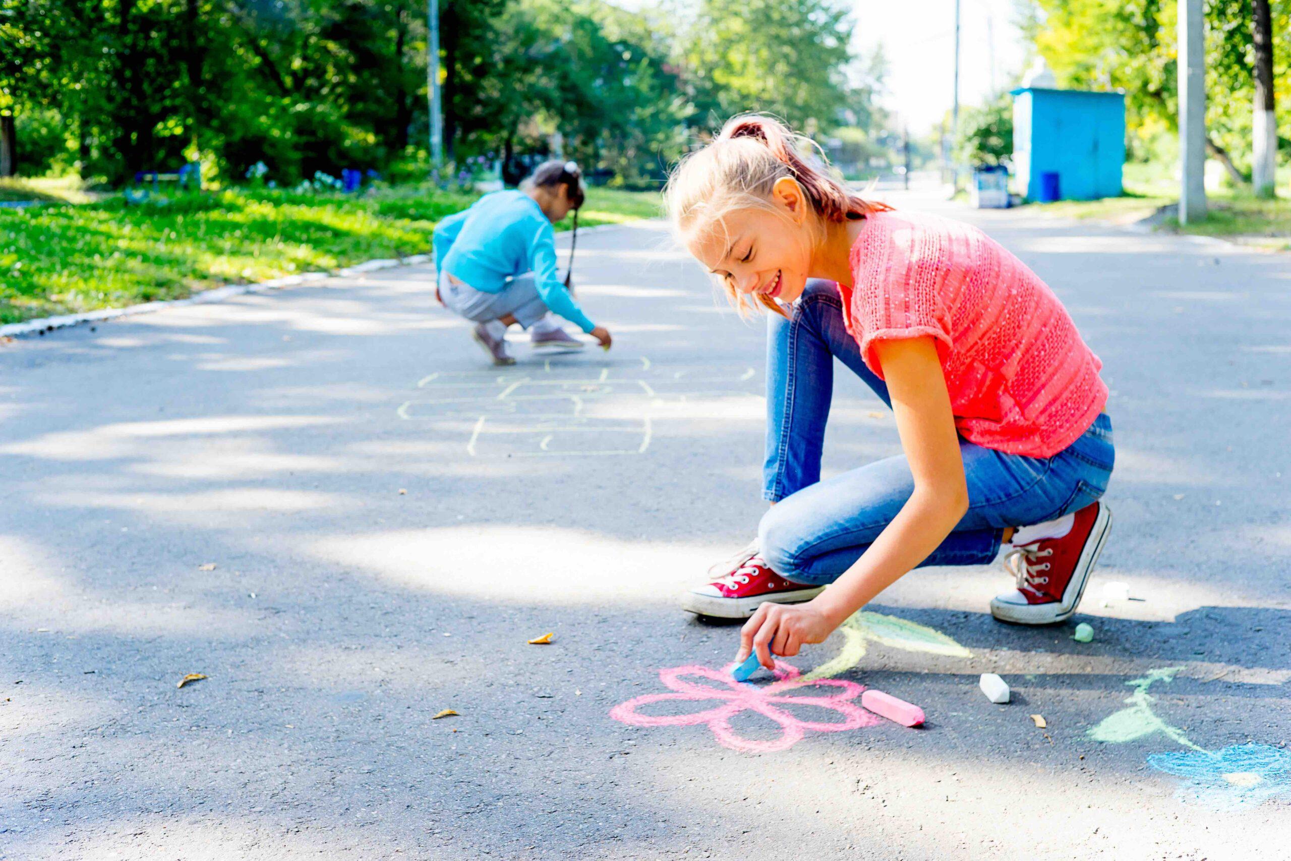 Create Art Studio in person summer camp outdoor art fun with chalk