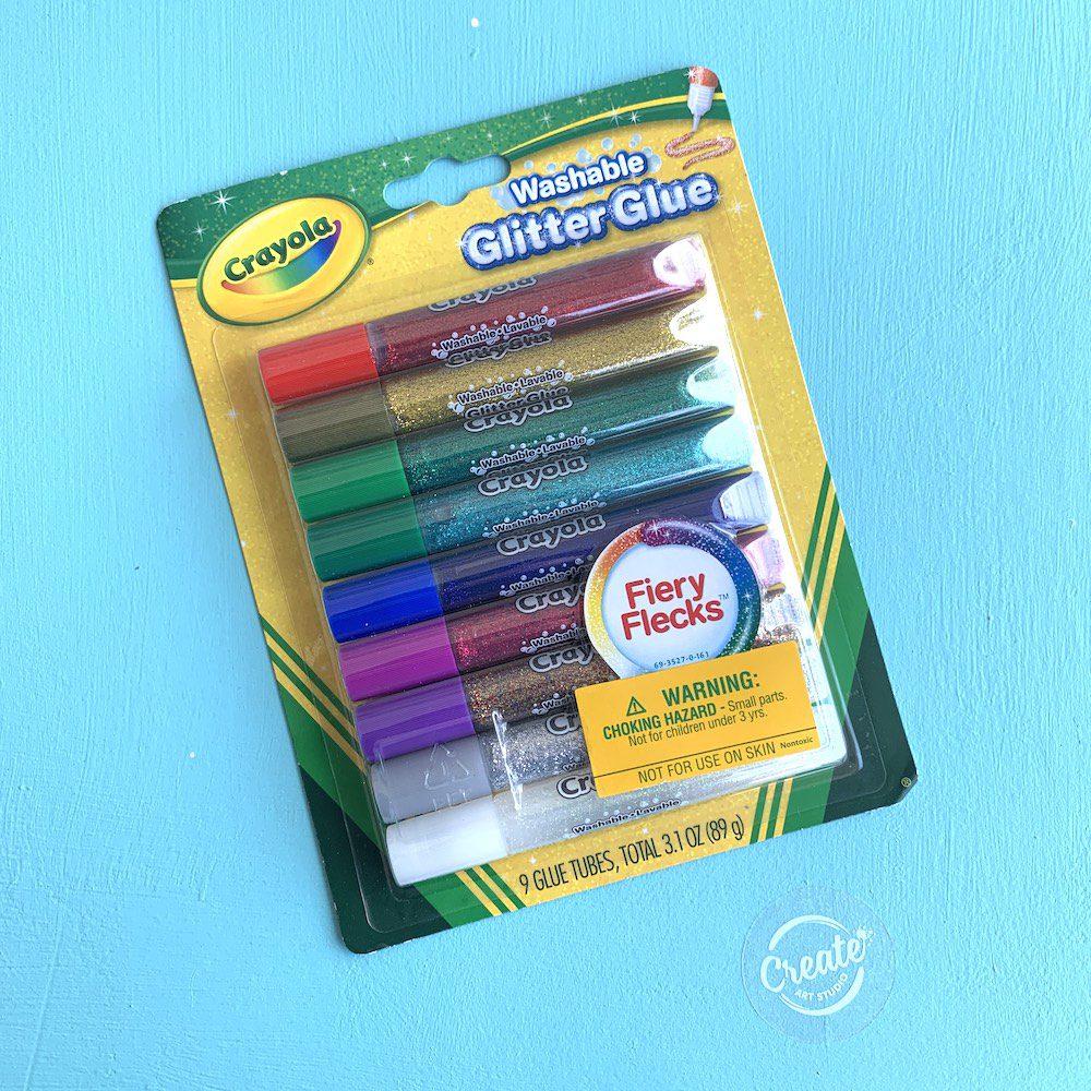 Create Art Studio Crayola Washable Glitter Glue Multicolour Tubes