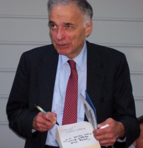 Ralph Nader signing his latest book