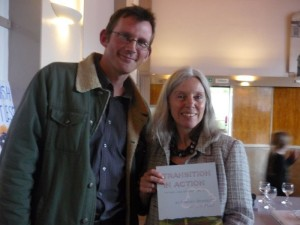 Rob Hopkins and Jacqi Hodgson premiere the Totnes energy descent plan. Photo: Transition Network.