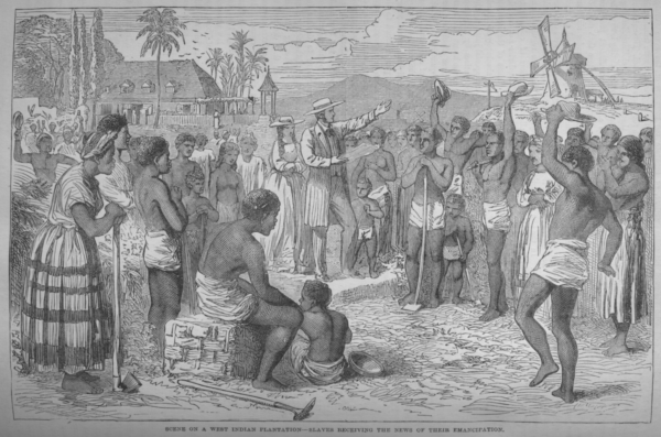 Slaves receiving news of emancipation in British West Indies