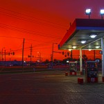 gas station on a red sky