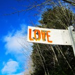 "railway sign with word ""love"""