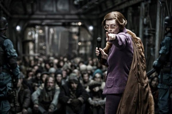 Tilda Swinton is from the government but she's not here to help in Snowpiercer.