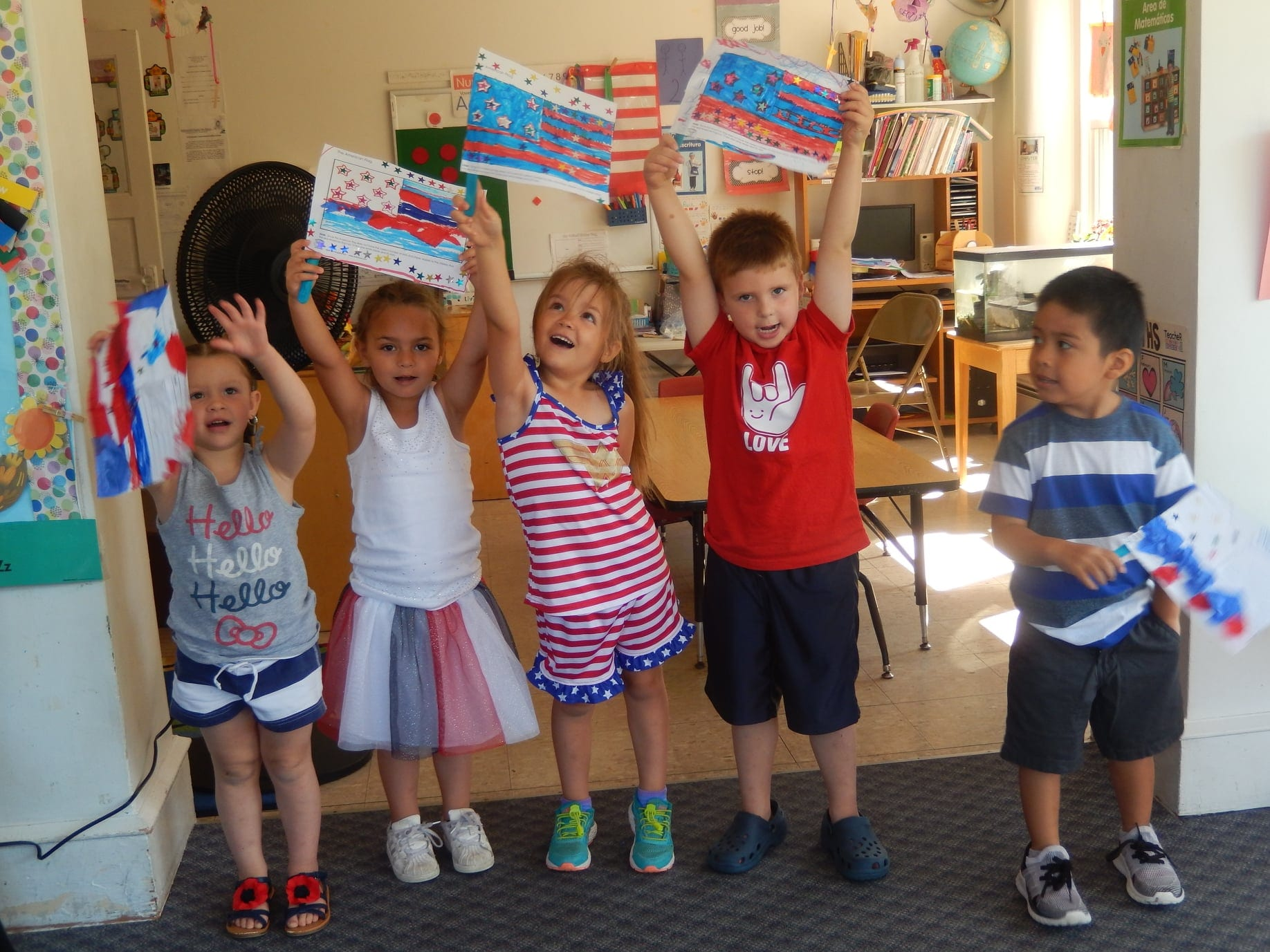 Daycare Aesthetics kids holding up an American Flag