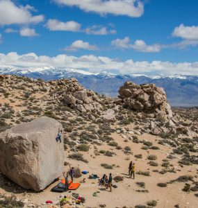 Bishop Bouldering: The Buttermilks Girl Beta & Videos - Sonia climbing the High Ball Jedi Mind Tricks