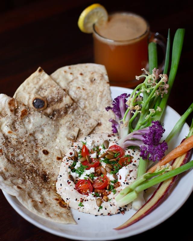 brunch Roasted Garlic Hummus flat bread Farmers Market Fresh Shared plates vegetarian Small plates
