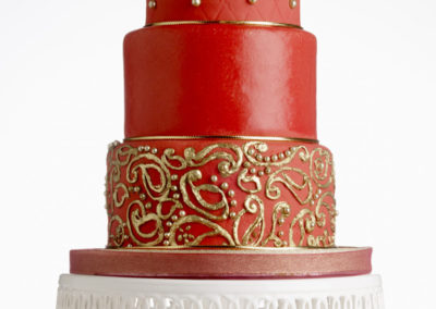 Paisley Red Fondant Gold embellishment