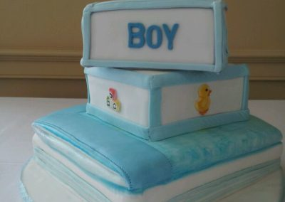 Baby shower cake Blue Fondant Teddy Bear Applique