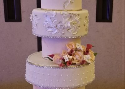 Wedding Cake with Brush Embroidery
