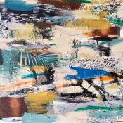 """Nell Tilton, """"Deliniation"""" 12x12 m:m:collage on board"""