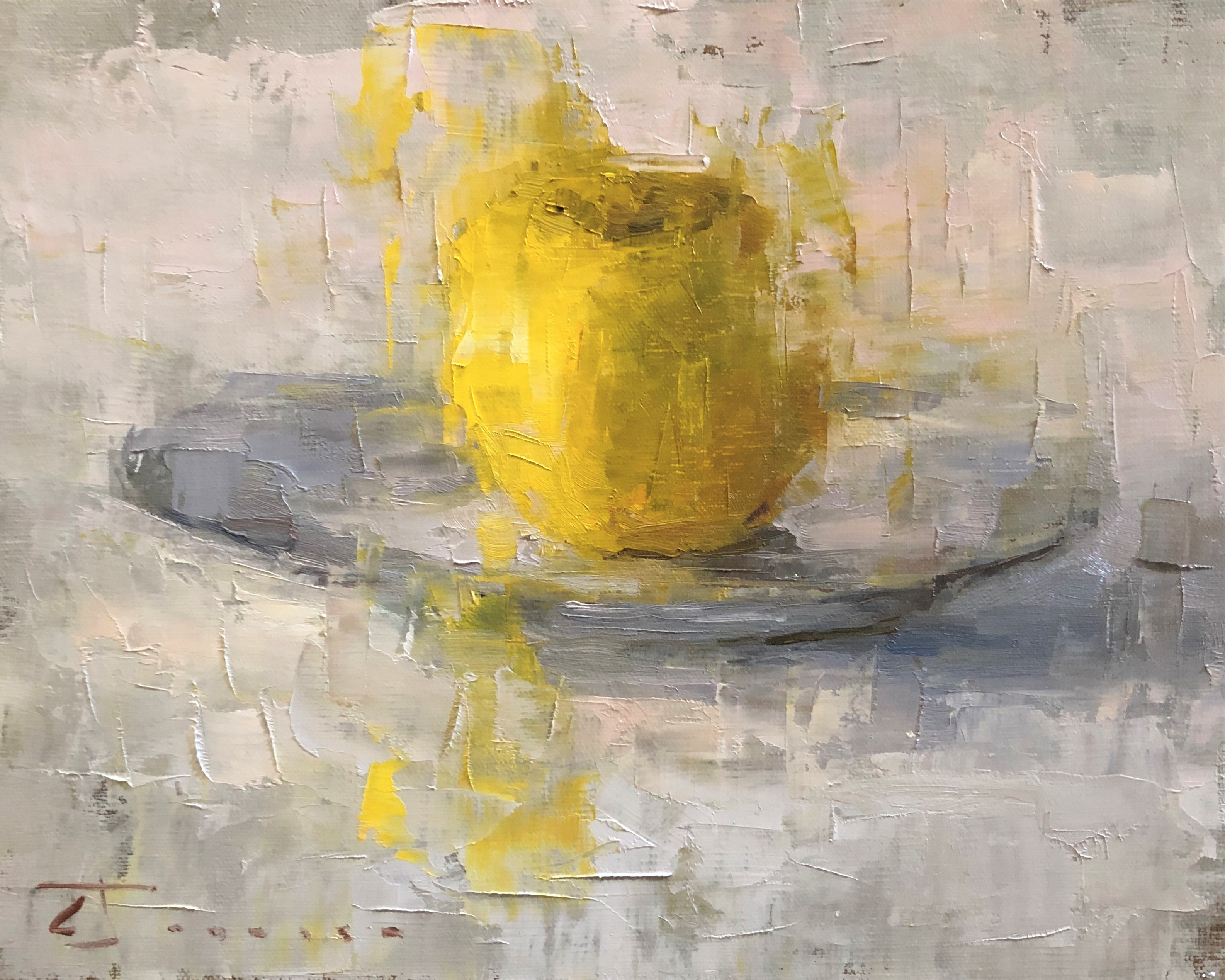 "Curtis Stewart Jaunsen-8""x10""-""Yellow Apple and Plate""-oil on canvas."