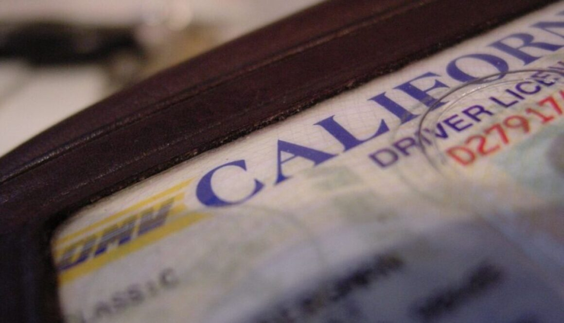 A close up of a california drivers license.