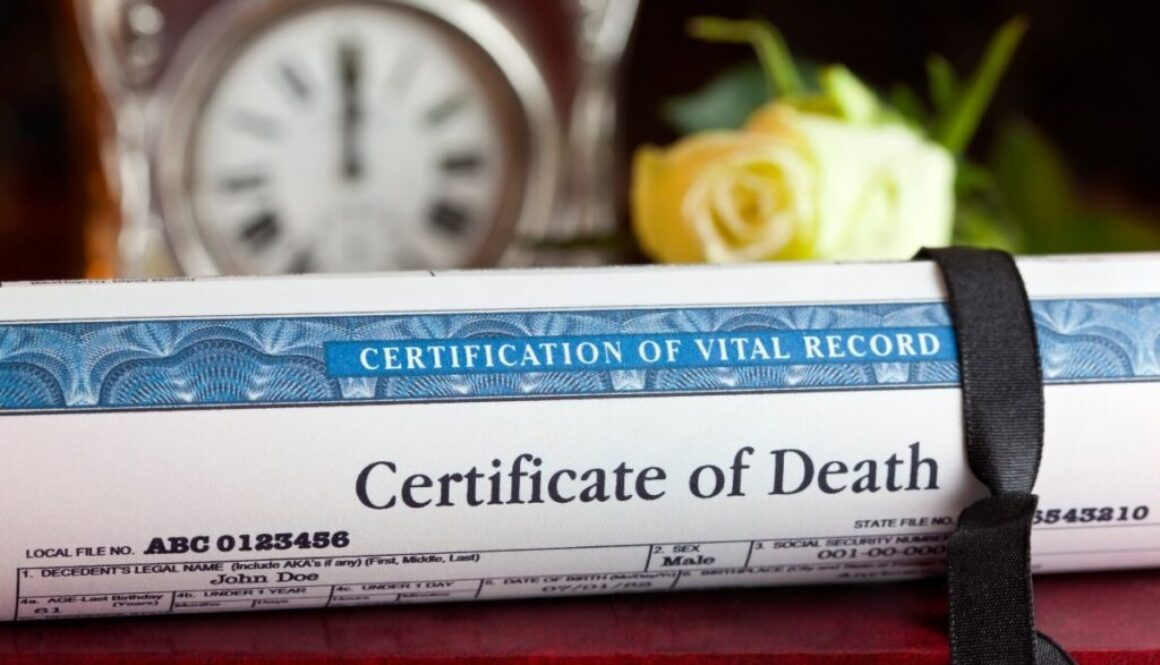 A California death certificate is sitting on a table.