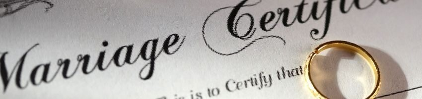 A close up of a marriage certificate.