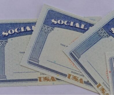 3 Social security card for a child placed on the table