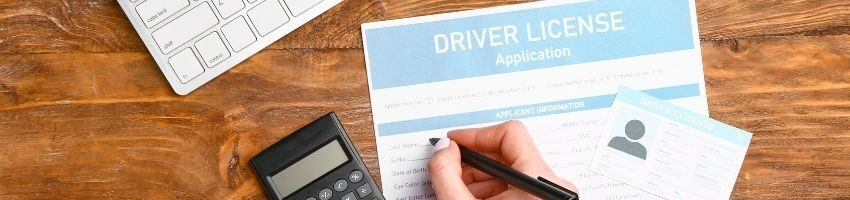 driver license form placed on table