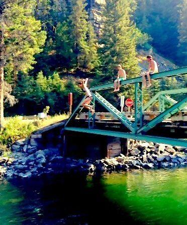 jumping the green bridge outside big sky