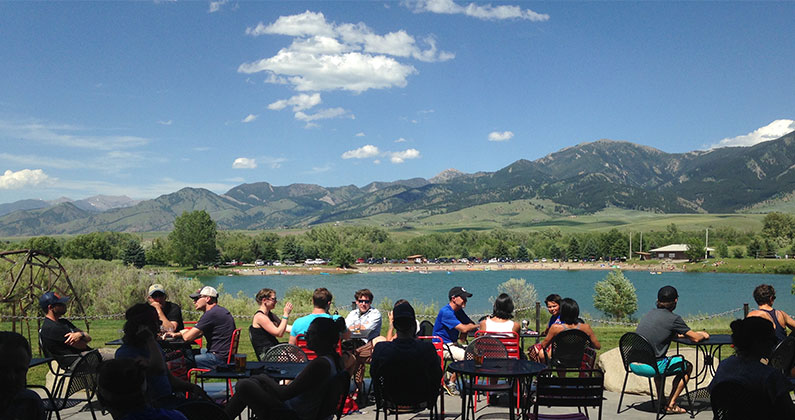 MAP brewing outside bozeman has great outdoor seating