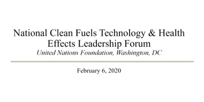 National Clean Fuels Technology & Health Effects Leadership Forum