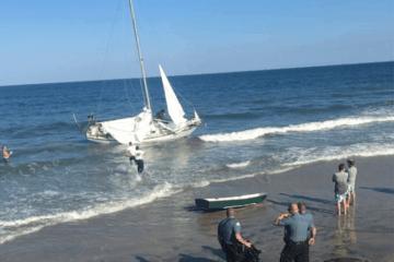 Sailboat Crashes On North Wildwood Beach