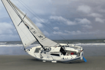 Boat Grounded In Diamond Beach