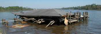 Hurricane Ivan Damages Wharf and Pavilion
