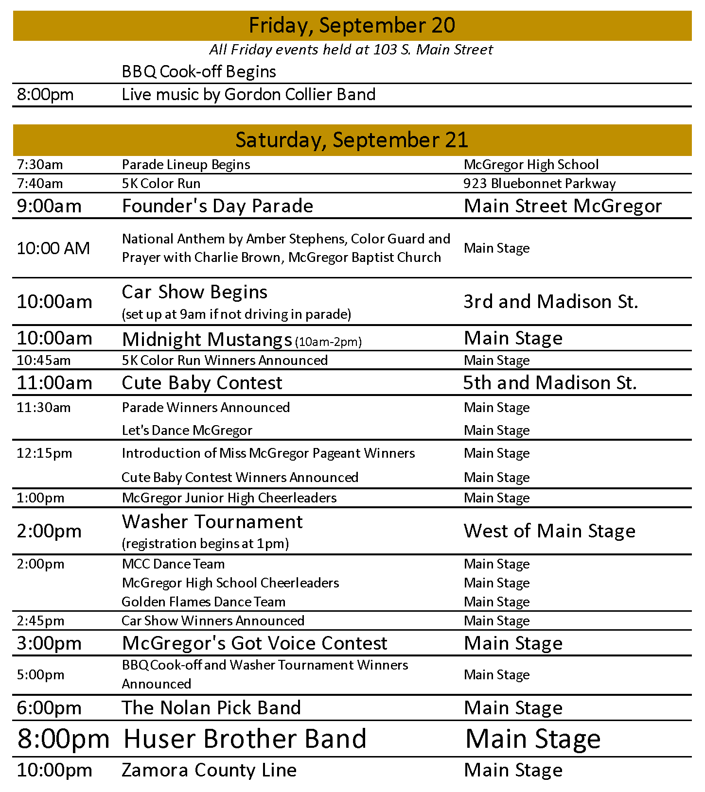 2019 Schedule of Events