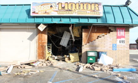 Stolen Freightliner water truck crashes into liquor store in Atwater