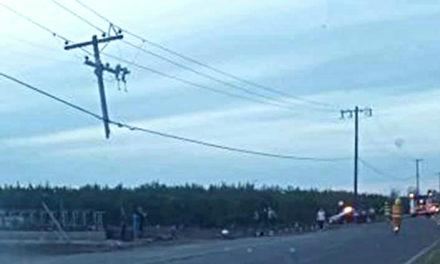 Two people sustain major injuries after vehicle crashes into utility power pole in Winton
