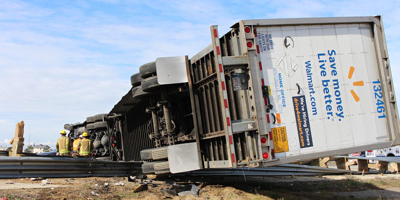 Walmart big rig overturns, shuts down traffic on southbound 99