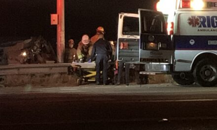 Vehicle rolls over several times, crashes into chain link fence on Santa Fe