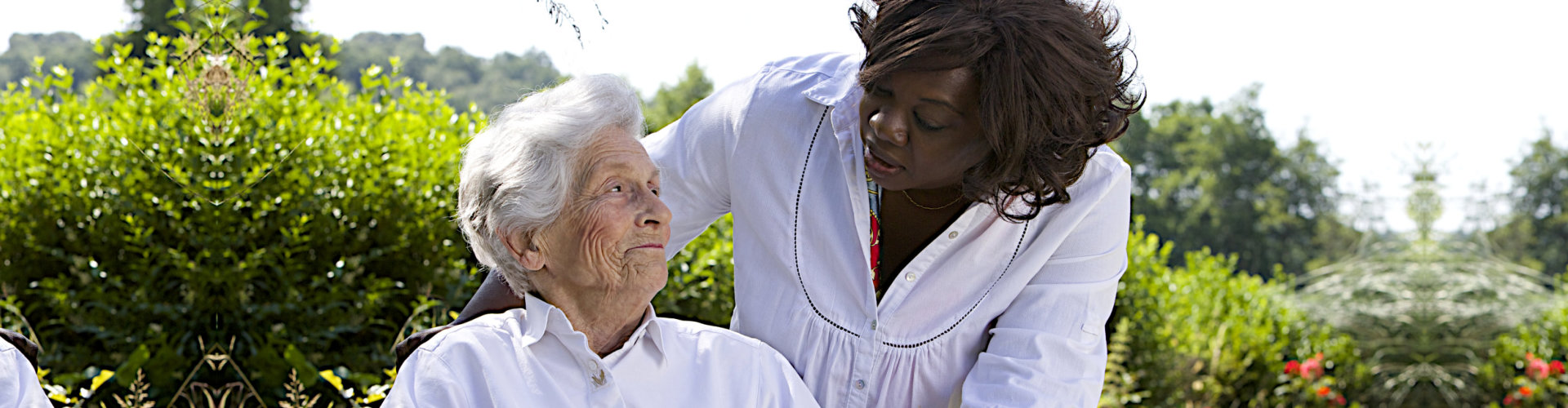 caregiver accompanying her senior patient