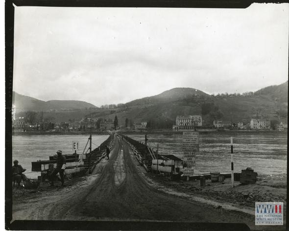 Rhine river pontoon bridge, 1945