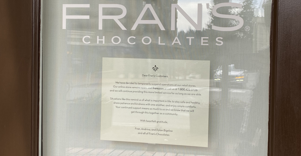 France Chocolates Closed during Coronavirus pandemic