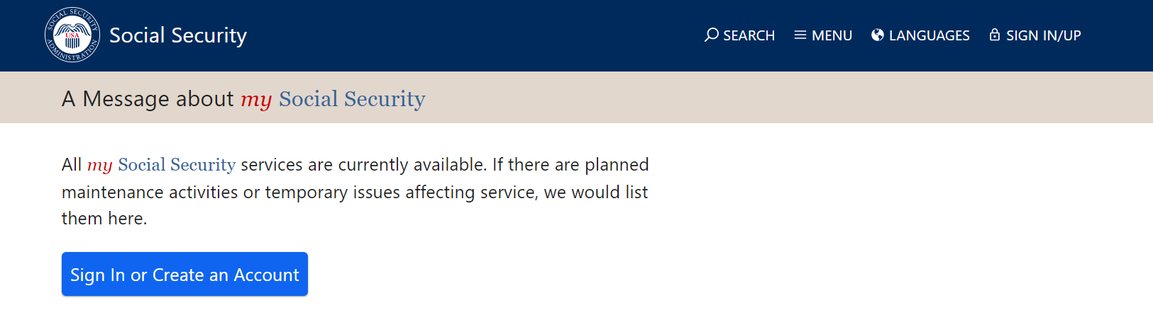 Social Security Administration is down for maintenance