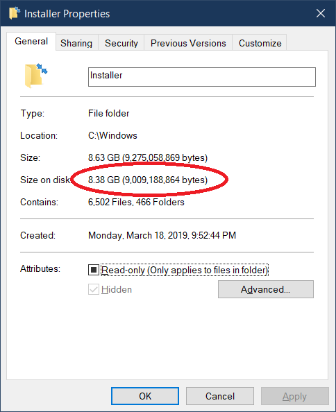 Windows Installer occupies 9 GB of disk space