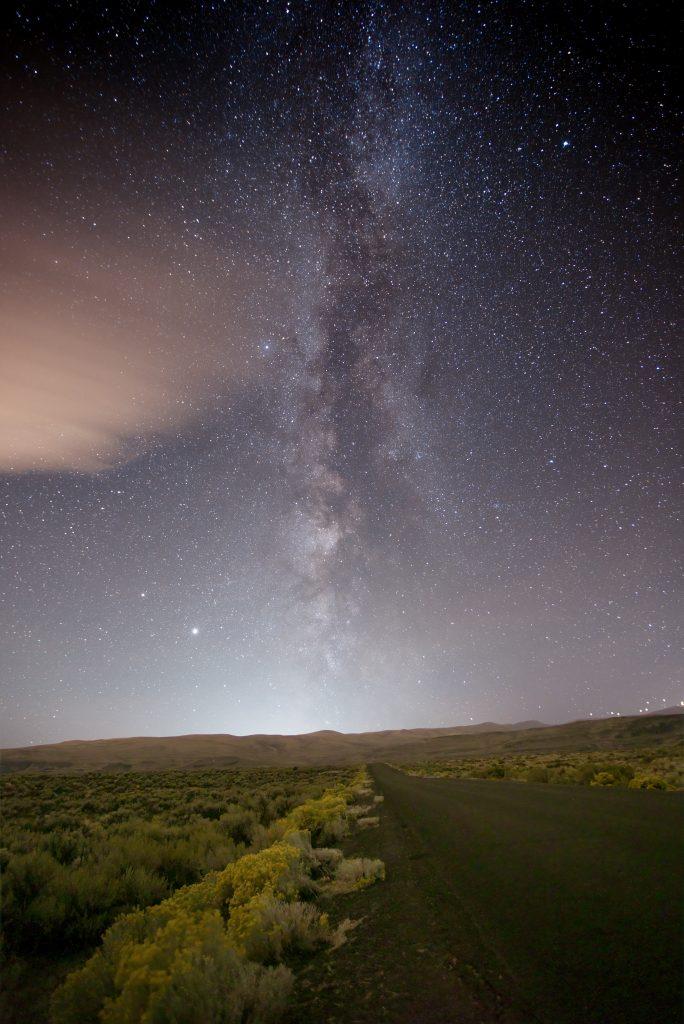 The Milky Way galaxy at night in northern hemisphere