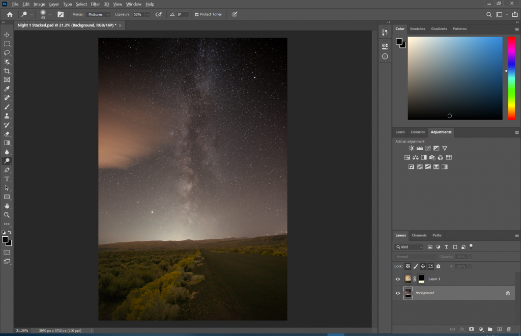 Photoshop view of the final image