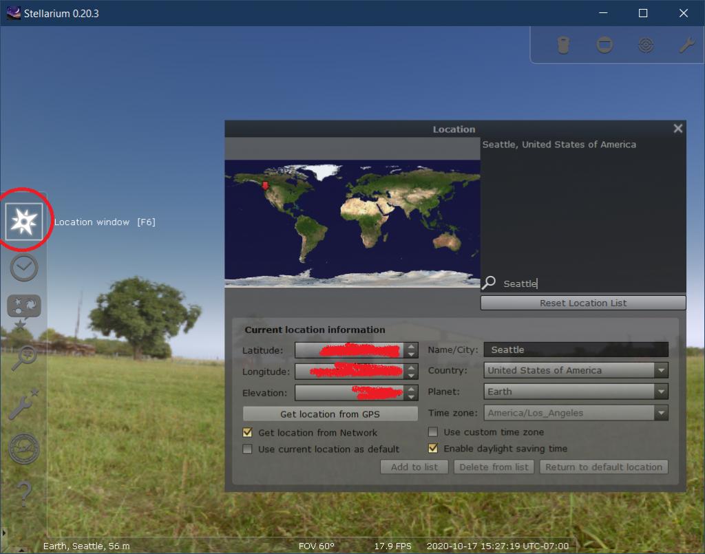 Stellarium location screen