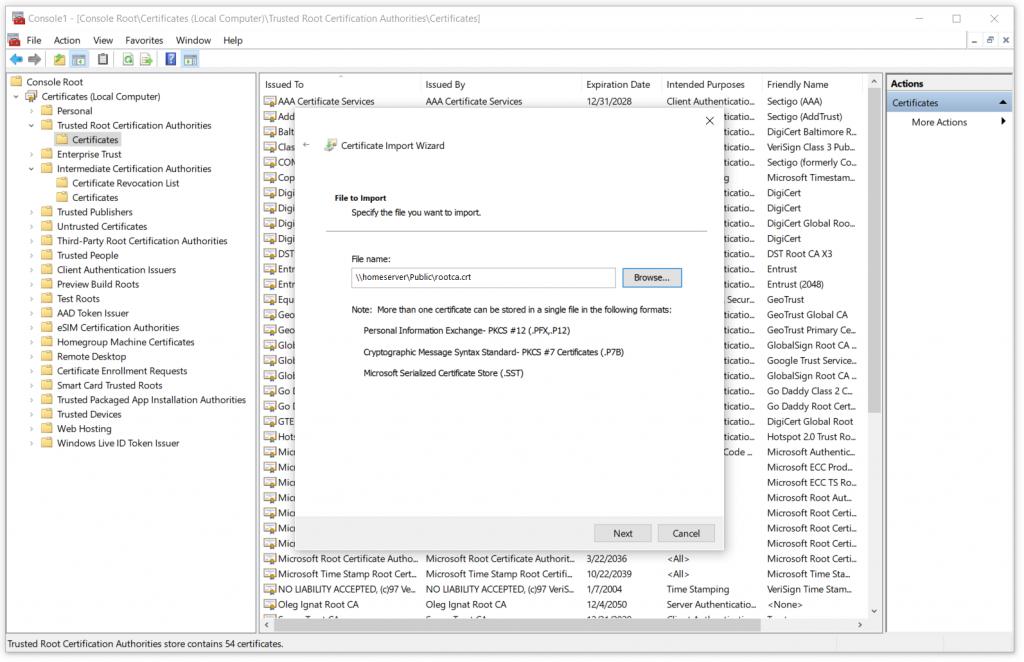 Select a Root CA public certificate file
