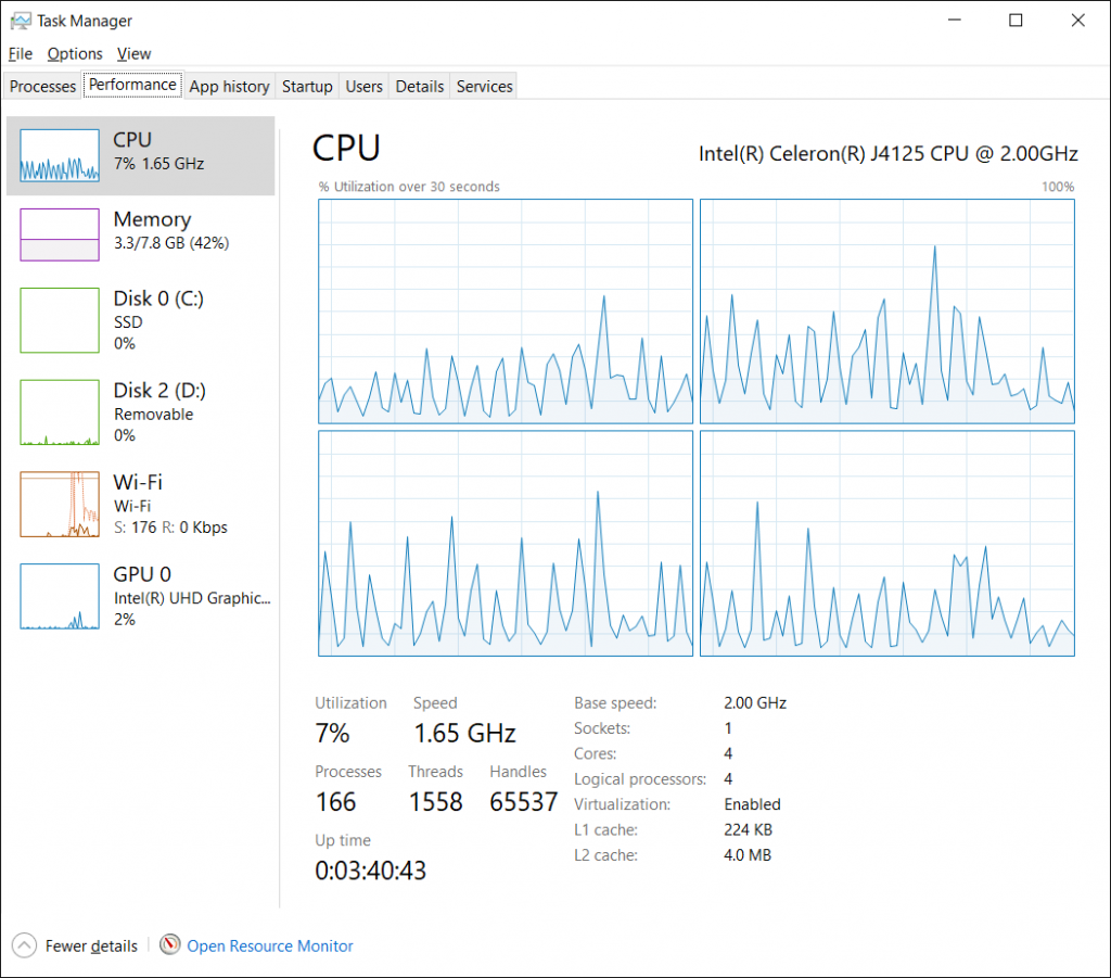 NucBox Task Manager during imaging session