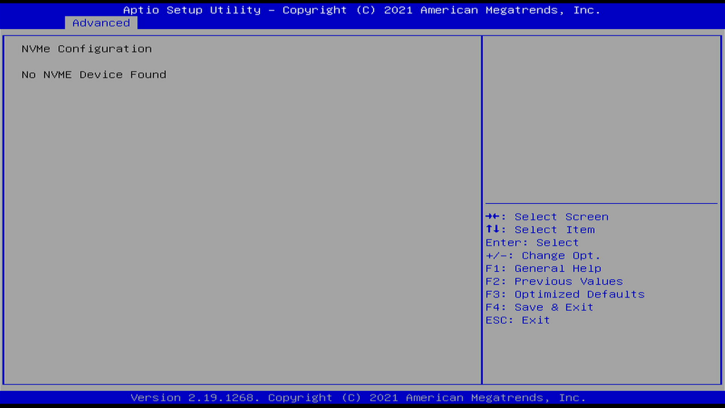NVMe Configuration Page