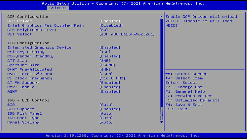 Chipset Uncore Configuration Page