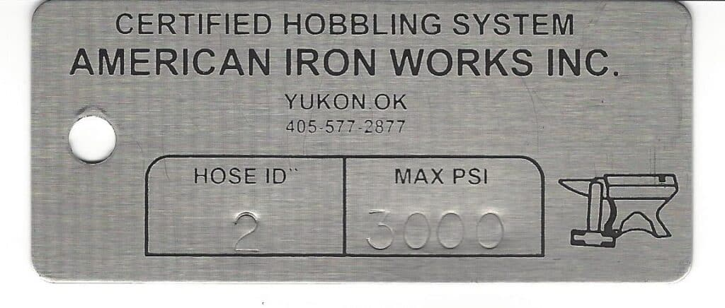 American Iron Works Tag Sample