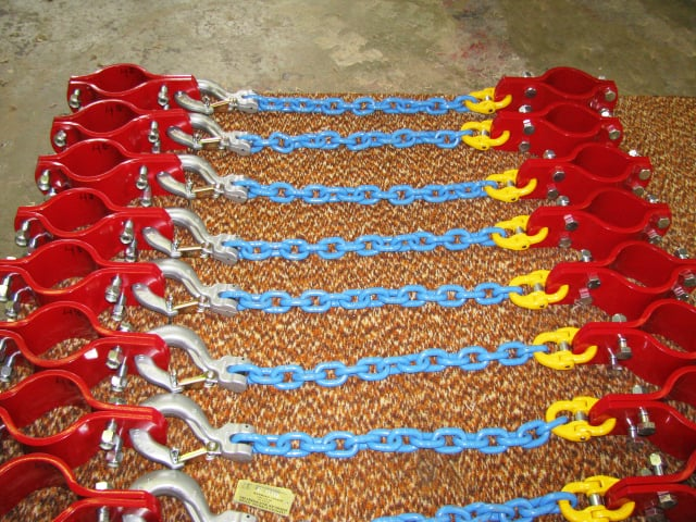 hose hobble, pipe clamp, grade 100 chain, safety hook