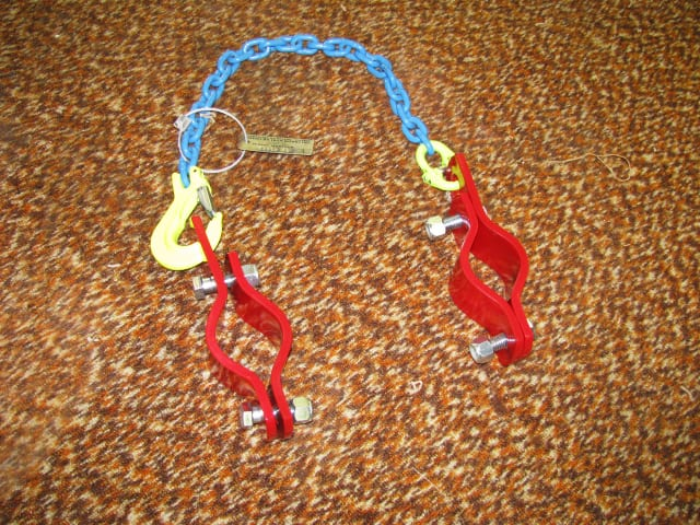 piping hobble, safety ear clamp, chain, safety hook